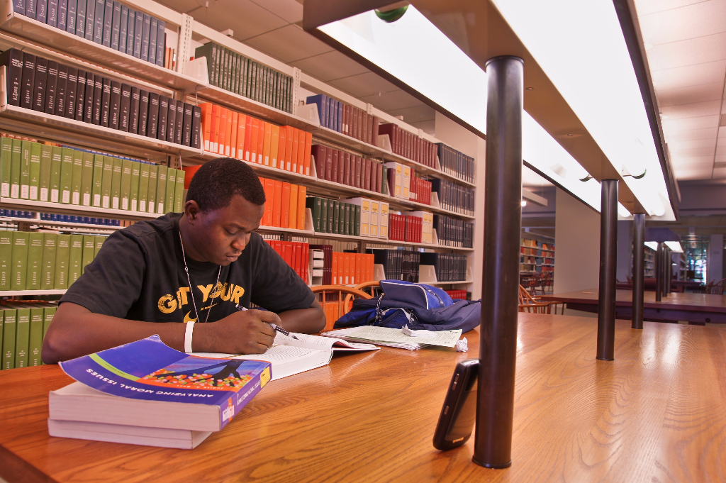 Studying in Pickler Memorial Library