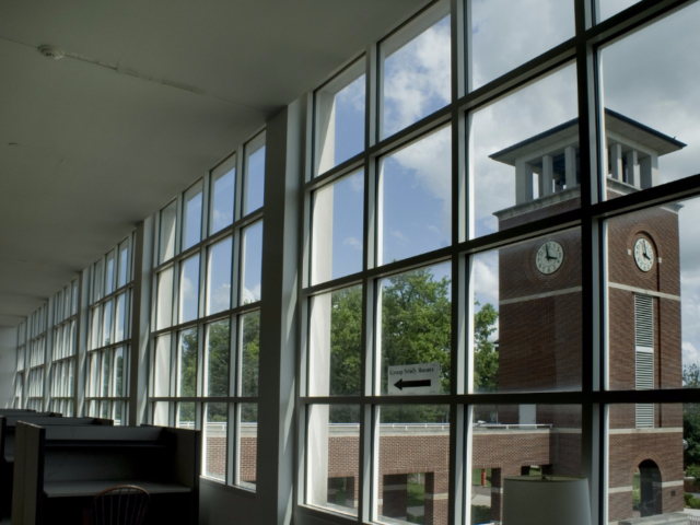 A view of the Clock Tower from Pickler Memorial Library