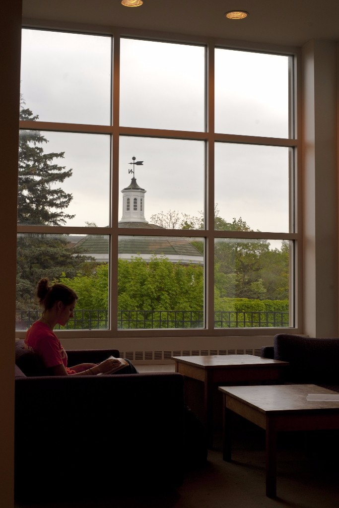 Studying in the library in a room with a view of the cupola on top of Kirk Memorial