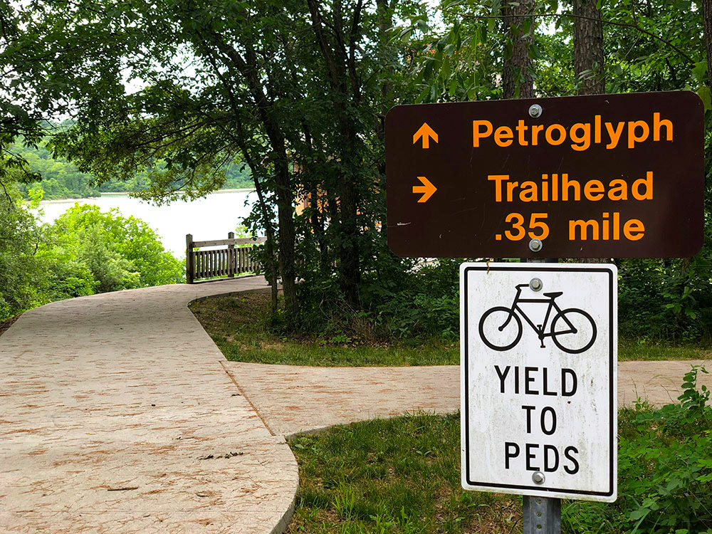 Petroglyph and Trailhead at Thousand Hills State Park