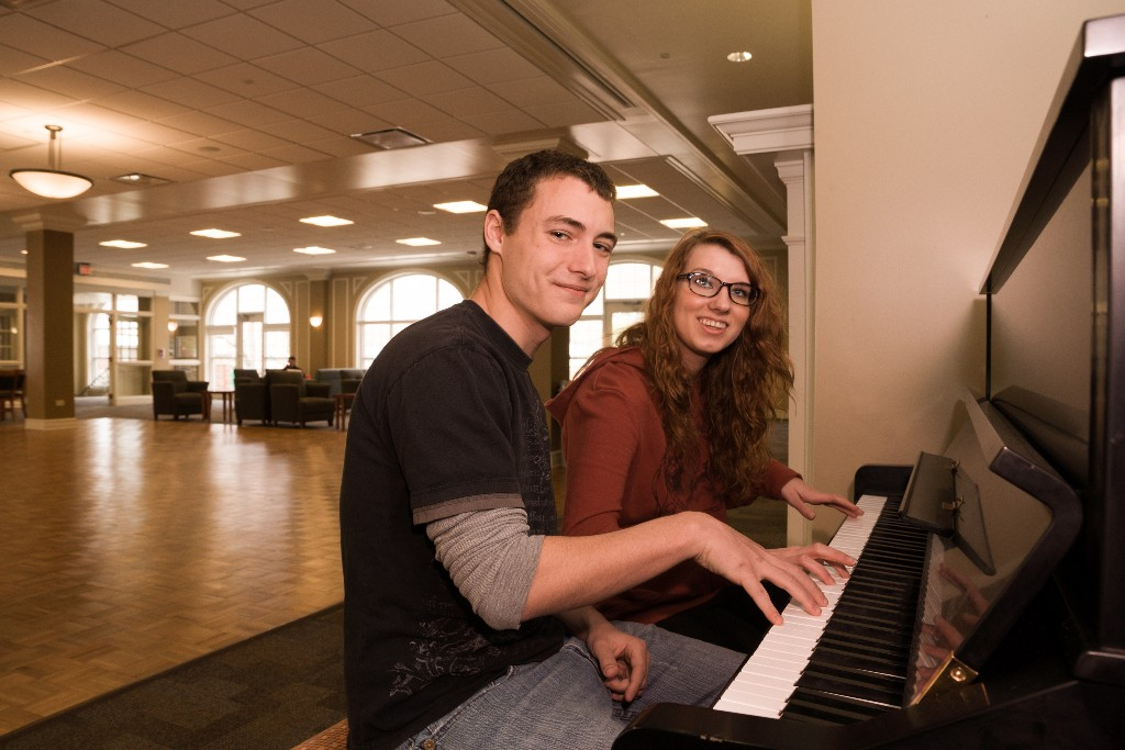 Teaming up to play some songs in the main lounge in Ryle Hall