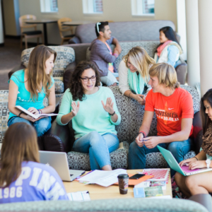 Study group in a residence hall lounge